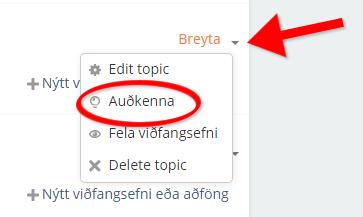 Auðkenna hluta áfanga