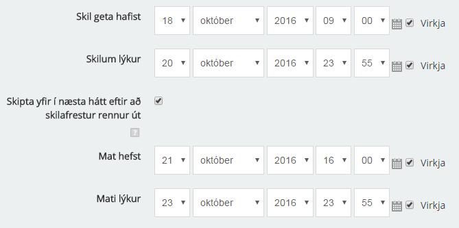 Framboð dag- og tímastillingar í verkstæði