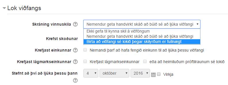 lok viðfangs - skilyrði