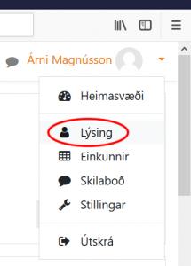 Smellið á eigið nafn og á lýsingu