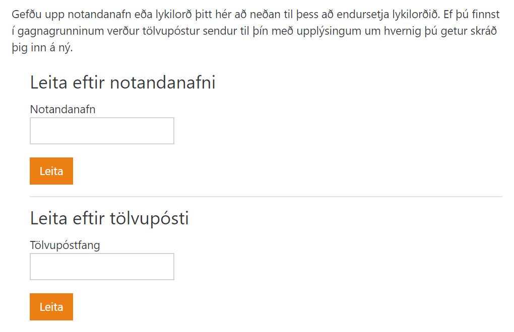 Nýtt lykilorð