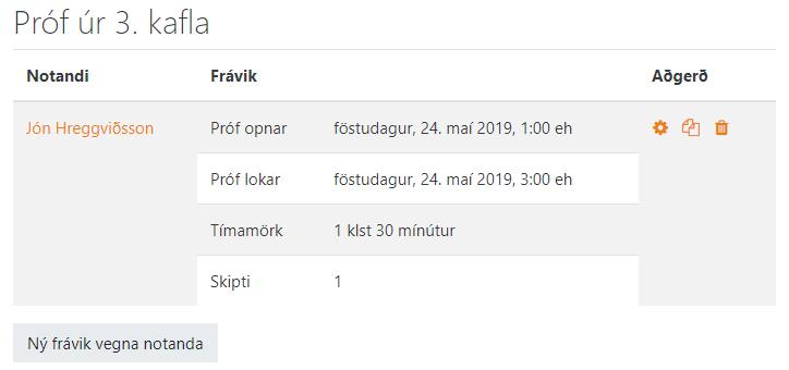 frávik notanda tilbúið
