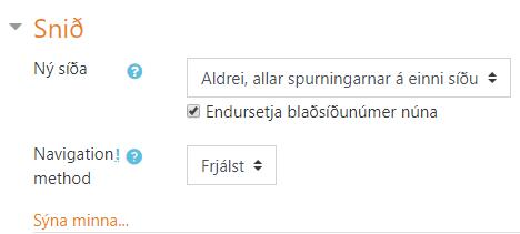 snið blaðsíðuskipan prófs